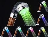 レインボー LED シャワー ヘッド 髪 や 肌 に 優しい トルマリン 活性炭 入り 虹色 七変化 簡単取付 お手軽 電源不要 発光 トルマリン セラミック ボール 入り 美肌 美髪( おまけ付き)