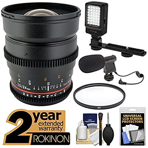 Rokinon 24mm T/1.5 Cine Wide Angle Lens with 2 Year Ext. Warranty + Filter + LED Video Light + Microphone Kit for Nikon D3200, D3300, D5200, D5300, D7100, D610, D800, D4s Cameras