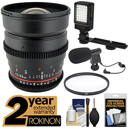Rokinon 24Mm T/1.5 Cine Wide Angle Lens With 2 Year Ext. Warranty + Filter + Led Video Light + Microphone Kit For Sony Alpha Dslr Slt-A57, A58, A65, A77, A99 Dslr Cameras
