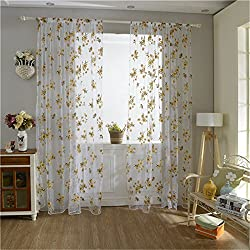 New 1pc Window Curtain 100cm*200cm 2 Color Flowers Tulle Voile Door Window Curtains Drape Panel Sheer Scarf Valances DN588 (Style 2)