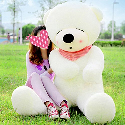 vercart-63-white-color-giant-huge-cuddly-stuffed-animals-plush-teddy-bear-toy-doll