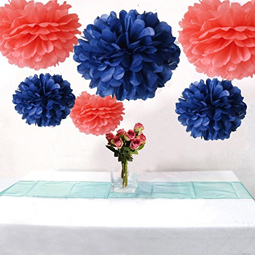 AllHeartDesires Set of 6 Coral Navy Blue Tissue Paper Flower Pompoms Wedding Birthday Bridal Shower Party Hanging Decoration
