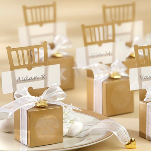 (Price/50 Pcs)Miniature Gold Chair Favor Box with Heart Charm & Ribbon