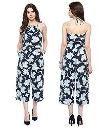MARTINI Blue Printed Halterneck Sleeveless Long Length Polycrepe Jumpsuit