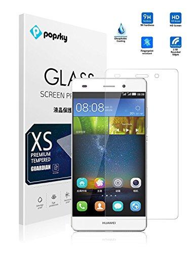 PopSky Huawei P8liteスマホ強化ガラスフィルム LUMIERE 503HW 5.0 インチ 強化ガラス 液晶保護フィルム(HUAWEI P8lite, 強化ガラス) [並行輸入品]