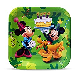 MBGiftsGalore Mickey Club House Square Plate (Pack of 10)