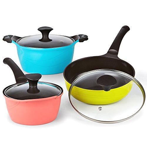 Cook N Home 6 Piece Nonstick Ceramic Coating Die Cast Cookware Set, Multicolor