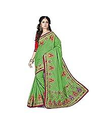 EthnicCrush Green Manipuri Silk & Dupian Saree - B011Y7FD22
