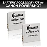ClearMax NB-6L Lithium Ion Replacement Batteries (2-Pack) for Canon Powershot D10, D20, SX240 HS, SX260 HS, Canon Elph 500 HS, S90, S95, SD4000 IS, SD3500, SD1300 IS, SD980 IS, SD1200 IS