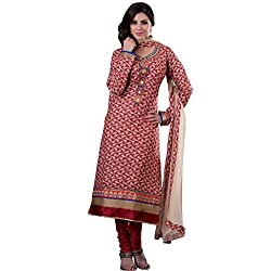 Voguish Beige & Red Coloured Embroidered Dress Material