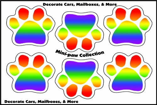 Imagine This 1-3/4-Inch By 1-3/4-Inch 6 Mini Paws Car Magnet, Rainbow front-116270