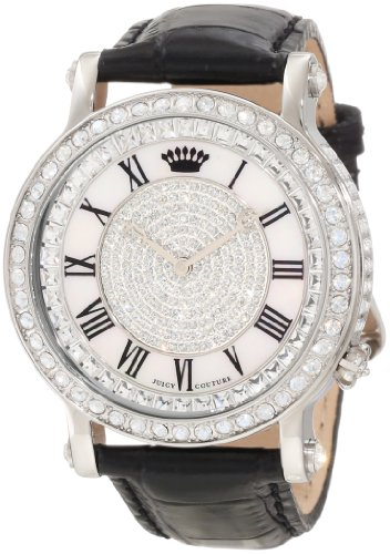 Juicy Couture Women's 1900991 Queen Couture Black Leather Strap Watch