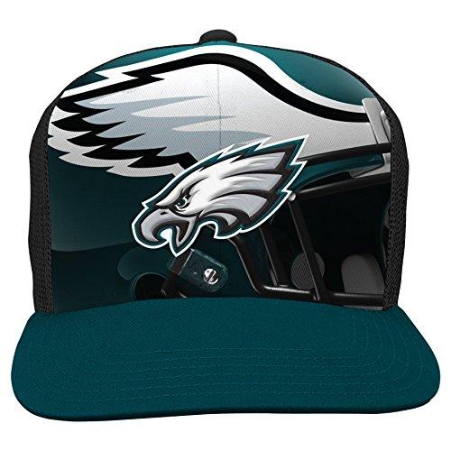 nfl-philadelphia-eagles-boys-8-20-stealth-flat-brim-hat-with-mesh-back-youth-one-size-black