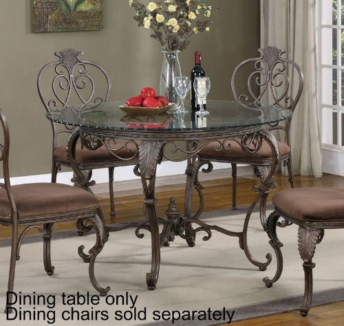 Cheap 45″ Round Dining Table Glass Top Cabriole Legs in Distressed Bronze (PW-928-410-GC5)