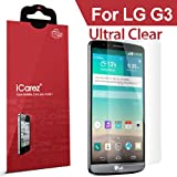 iCarez® for LG G3 [HD Clear] Highest Quality Premium Screen protector High Definition Ultra Clear & Anti Bacterial & Anti-Oil & Anti Scratch & Bubble free & Reduce Fingerprint & No rainbow & washable Screen Protector **PET Film Made in Japan** Easy install & Green healthy Product with Lifetime Replacement Warranty [3-Pack] - Retail Packaging 2014