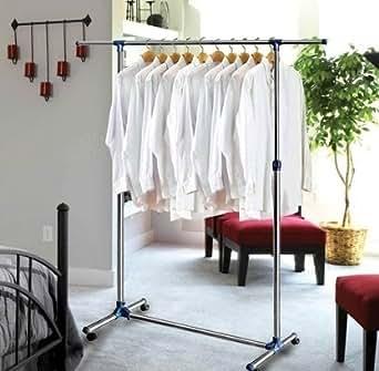Oramics Kleiderständer ausziehbar 87 cm bis 150 cm und mit Rollen Teleskopgarderobe - Garderobenständer (Ohne Schuhablage)