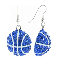 Buy Basketball Rhinestone Fish Hook Earrings - Royal Blue Crystals with White Enamel Stripes by RUL