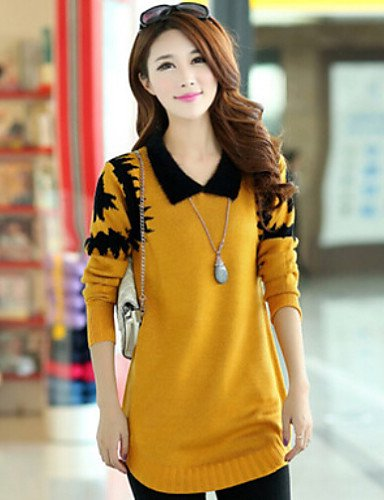 WXD da donna stampa Loose hin sottile pullover, Casual/Plus dimensioni a maniche lunghe, yellow-3xl