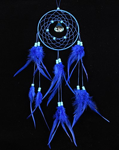 Yansanido Dream Catcher Handmade Traditional Blue Beaded Bell Feathers Approx 5.11