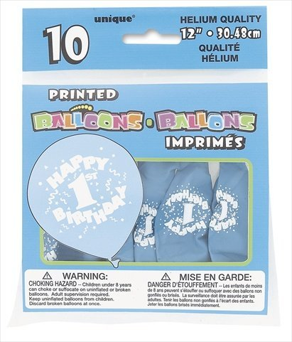 "Printed Balloons 12"" 10/Pkg-Happy 1st Birthday - Blue"