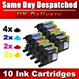 10 compatible Ink Cartridges to Brother LC1220 LC1240 (4x LC1240BK + 2x LC1240C + 2x LC1240M + 2x LC1240Y) for Brother MFC-J280W, MFC-J425W, MFC-J430W, MFC-J435W, MFC-J5910DW, MFC-J625DW, MFC-J6510DW, MFC-J6710DW, MFC-J6910DW, MFC-J825DW, MFC-J835DW, DCP