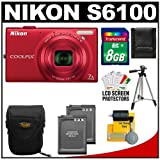 Nikon Coolpix S6100 16.0 MP Digital Camera (Red) with 8GB Card + (2) Batteries + Case + Tripod + Cleaning Kit