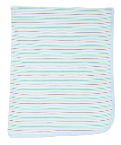 Spasilk Baby-boys 2 Ply Receiving Blanket Stripe Print, Blue, One Size