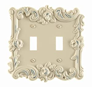 Amerelle 60TTAW Provincial Double Toggle Wallplate, Antique White