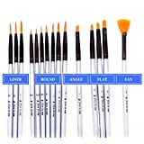 Premium Fine Detail Paint Brush Set of 15 pcs Synthetic Small Miniature Brushes for Face Painting, Art Painting, Models, Nail Art - Ideal for Use with Acrylic, Watercolor, Oil - Quality Guarantee