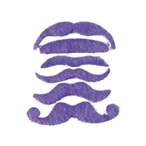 12 Synthetic Mustache Assortment - Costume Moustache (Purple)