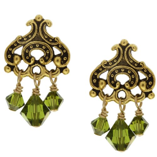 Charming Life Goldplated Pewter Green Crystal Chandelier Earrings