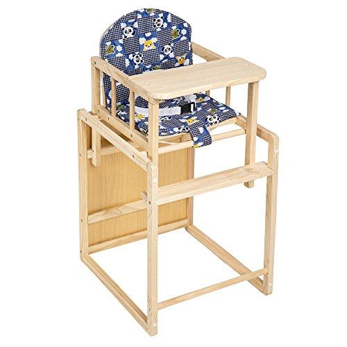 TecTake Kinderhochstuhl Kombihochstuhl Hochstuhl Babyhochstuhl Holz Baby Stuhl + Tisch 2 in 1 Kombination blau