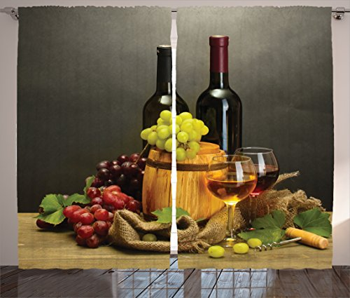 Ambesonne Winery Decor Collection, Barrel, Bottles and Glasses of Wine and Ripe Grapes on Wooden Table Decorative Picture, Living Room Bedroom Curtain 2 Panels Set, 108 X 84 Inches, Multi (Wine Themed Curtains compare prices)