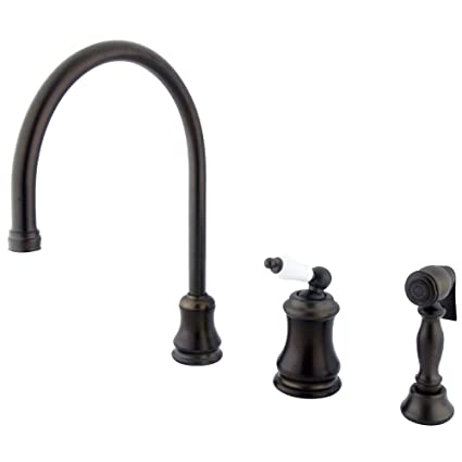 Kingston Brass KS3815PLBS Restoration Widespread Kitchen Faucet with Brass Sprayer, 9-Inch, Oil Rubbed Bronze