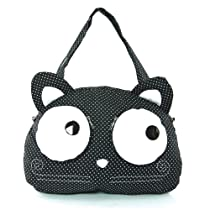 Polka Dot Big Eyed Kitty Cat Tote Bag (Black)