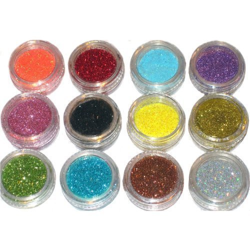 12pc nail art glitter powder dust tips decoration by RY
