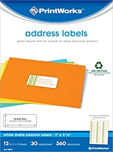 Printworks White Matte Address Labels for Inkjet or Laser Printers or Copiers, 100% Recycled, 12 Sheets/Pack, 1 inch x 2.625 inch, 00487
