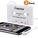 INSTEN [2-Pack Car Cassette Tape Deck Adapter Compatible with 3.5mm Jack Audio MP3/CD Player Compatible with iPhone 6S / 6S Plus / 5S, Samsung Galaxy S10/S10 Plus/S10e/S8/S8+ S8 Plus/S9/ S9+ S9 Plus (Color: Car Cassette Tape Deck Adapter [2 Pack])