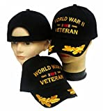 WWII World War II Baseball Cap Veteran Wreaths Black Vet Hat US Army Air Force