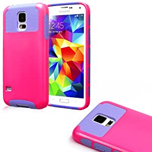myLife (TM) Shocking Pink and Lavender Purple - Free Flex Series (2 Layer Neo Hybrid) Slim Armor Case for the NEW Galaxy S5 (5G) Smartphone by Samsung (External Rubberized Hard Shell Flex Piece + Internal Soft Silicone Flexible Bumper Gel)