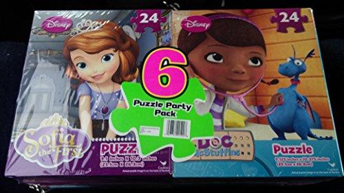 Sofia the First, Doc McStuffins, Minnie Mouse 6 Puzzle Party Pack (24 Pieces Each)