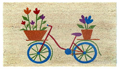"""Bicycle Mat"" Doormat By Castle Mats, Size 18 X 30 Inches, Non-Slip, Durable, Made Using Odor-Free Natural Fibers"