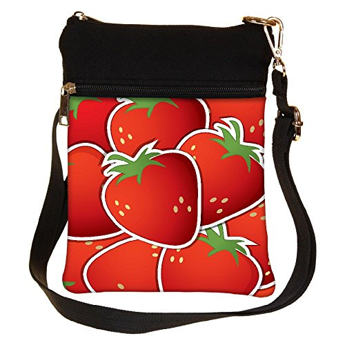 Snoogg Strawberry Sticker Background Card In Vector Format Cross Body Tote Bag / Shoulder Sling Carry Bag
