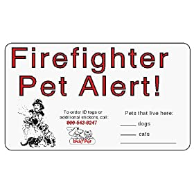 Firefighter Pet Alert, Set of 2 Reflective Fire Stickers