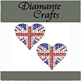 2 x 38mm Red Clear Blue Diamante Union Jack Hearts Self Adhesive Craft Rhinestone Embellisment Gems - created exclusively for Diamante Crafts
