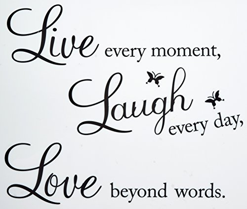 Meco Vinyl Decal Live Every Moment, Laugh Every Day, Love Beyond Words Wall Quote (Removable Wall Stickers compare prices)