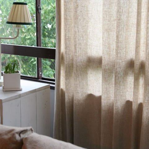 天然素材の麻100%の優しいカーテン [リンネル] ベージュ [D] 幅150cm×高178cm 1枚セット (片開き)
