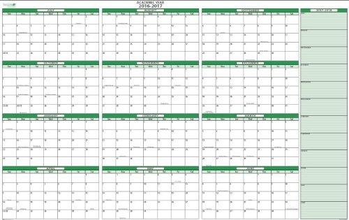 School calendars 2016/2017 as free printable PDF templates