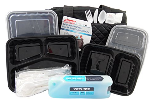 Coleman Cooler Satchel with Yeti Ice Pack, Bento Lunch Box Containers and Plastic Utensils in an 11 Piece Bundle (Insulated Lunch Bag Coleman compare prices)