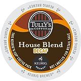 Keurig, Tully's House Blend Decaf, Medium Roast Coffee Extra Bold 24 K-Cup Single Serve Packs